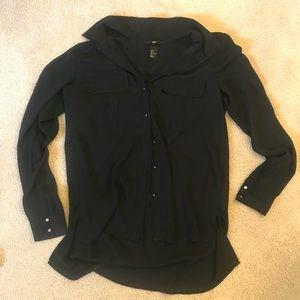 Black collared button up longsleeve shirt